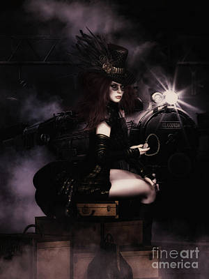 Hairstyle Digital Art - Steampunkxpress by Shanina Conway