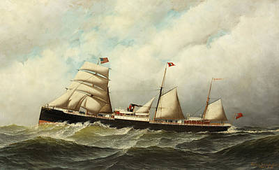 Waving Flag Painting - Steamship   Cornwall by Antonio Jacobsen