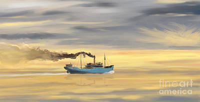 Digital Art - Steamship Freighter Heading Towards The Ocean by Jan Brons