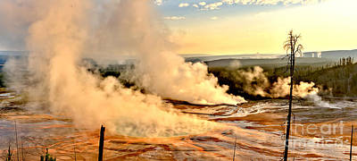 Photograph - Steamy Sunrise At Midway Geyser Basin by Adam Jewell