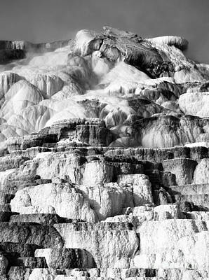 Photograph - Steamy Travertine Hot Spring Terraces Mammoth Hot Springs Yellowstone National Park Bw by Shawn O'Brien