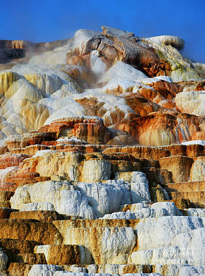 Photograph - Steamy Travertine Hot Spring Terraces Mammoth Hot Springs Yellowstone National Park by Shawn O'Brien