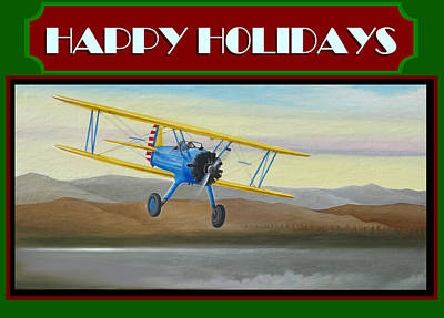 Art Print featuring the painting Stearman Morning Flight Christmas Card by Stuart Swartz