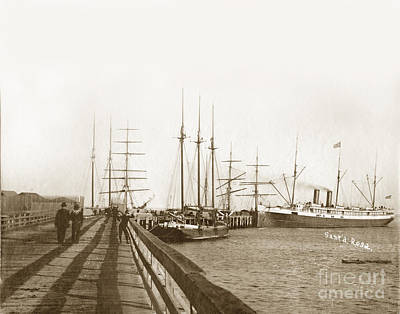 Photograph - Stearns Wharf A Deep Water Wharf At Santa Barbara With The  Pacific Coast Steamship Company. 1900 by California Views Archives Mr Pat Hathaway Archives