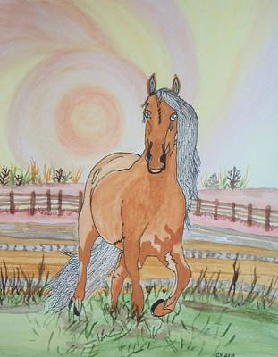 Art Print featuring the painting Stech Of A Horse by Connie Valasco
