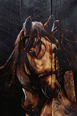 Pyrography Painting - Steed by Mark Mahorney