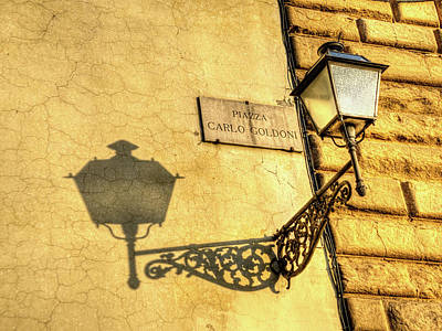 Photograph - Steeetlamp And Shadow On Texture by Gary Slawsky