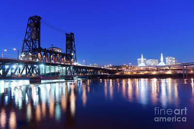 Cityscape Photograph - Steel Bridge Oregon Street Willamette River Downtown Portland by Christopher Boswell