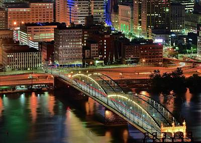 Photograph - Steel City Bridge And Lights by Frozen in Time Fine Art Photography