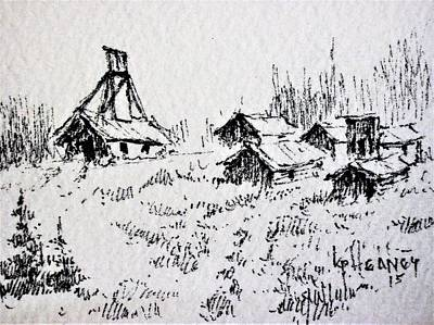 Drawing - Steel Creek Mine Montana by Kevin Heaney