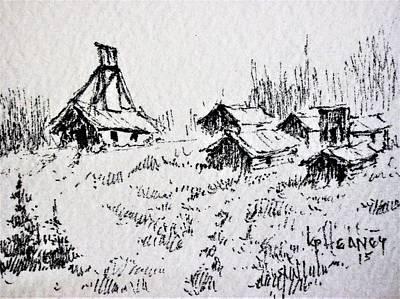 Drawing - Steel Creek Mine Montana by Kevin Heaney