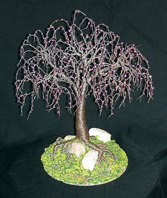 Sculpture - Steel Elm Wire Tree Sculpture, With Glass Beads, Original By Sal Villano by Sal Villano