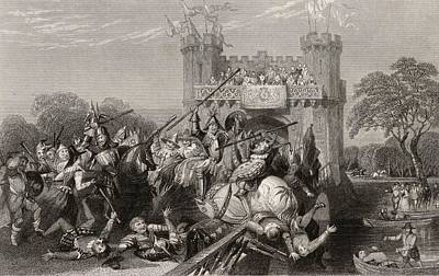 Kenilworth Castle Wall Art - Drawing - Steel Engraving Of The Mock Battle By by Vintage Design Pics