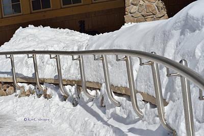 Photograph - Steel Hand Rail In Snow by Kae Cheatham