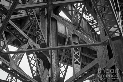 Photograph - Steel Intersections Steel Bridge Beam Construction Art by Reid Callaway
