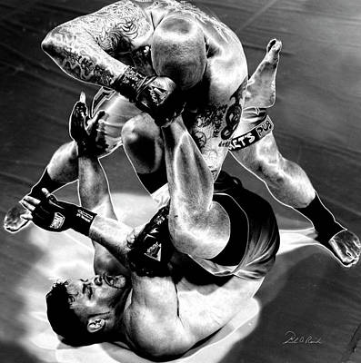 Action Sports Art Photograph - Steel Men Fighting 3 by Frederic A Reinecke
