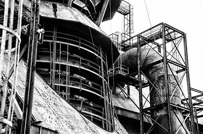 Steel Mill In Black And White - Bethlehem Art Print by Bill Cannon
