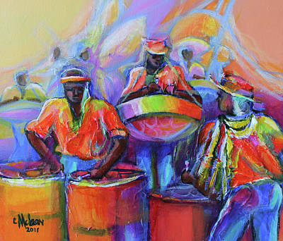 Abstract Impressionism Painting - Steel Pan Carnival by Cynthia McLean