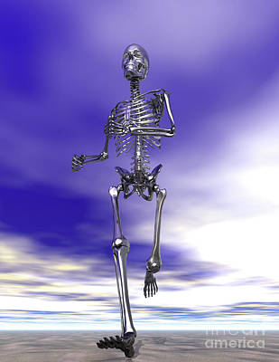 Digital Art - Steel Running Skeleton On Wet Sand by Nicholas Burningham