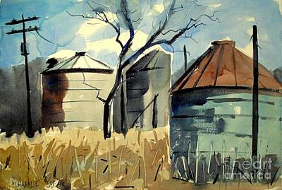 Print featuring the painting Steel Silos In A Field Matted Glassed Framed by Charlie Spear