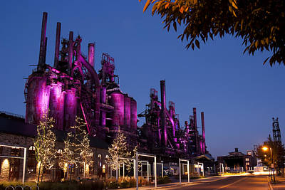 Photograph - Steel Stacks At Night by Michael Dorn