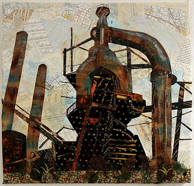Tapestry - Textile - Steel Stacks Squared by Martha Ressler