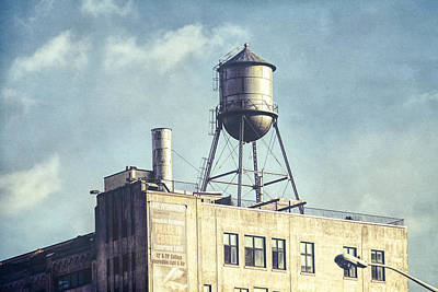 Print featuring the photograph Steel Water Tower, Brooklyn New York by Gary Heller
