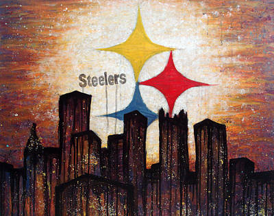 Football Painting - Steelers. by Mark M  Mellon