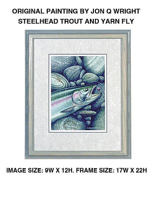Trout Wall Art - Painting - Steelhead And Yarn Fly by JQ Licensing