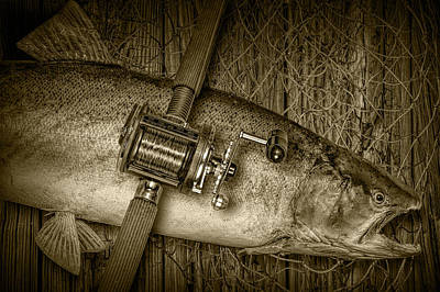 Photograph - Steelhead Trout Catch In Sepia by Randall Nyhof
