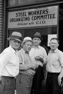 Steelworkers At A Union Storefront. The Art Print by Everett