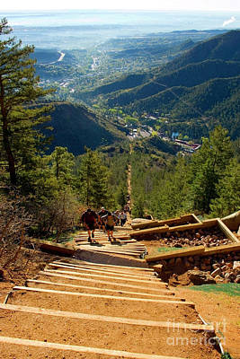 Steve Krull Royalty-Free and Rights-Managed Images - Steep Manitou Incline and Barr Trail by Steve Krull