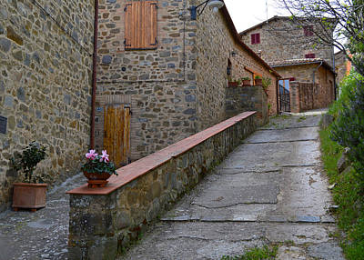 Steep Street In Montalcino Italy Art Print