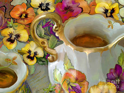 Teapot Painting - Steeped And Infused  by CR Leyland