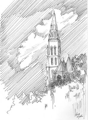 Drawing - Steeple Of A Church by Asha Sudhaker Shenoy