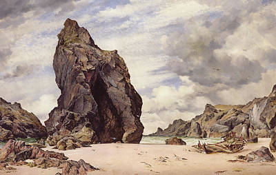 Wreck Painting - Steeple Rock, Kynance Cove, Lizard, Cornwall, Low Water, 1873 by Edward William Cooke