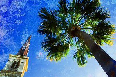 Photograph - Steeple Through Palm by Alice Gipson
