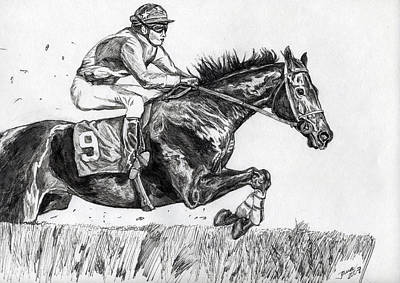 Steeplechase Race Drawing - Steeplechase by Jana Goode