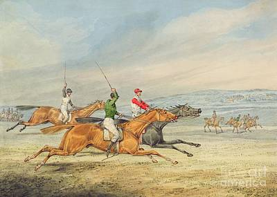 English Riding Painting - Steeplechasing by Henry Thomas Alken