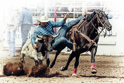 Photograph - Steer Wrestling by Wes and Dotty Weber
