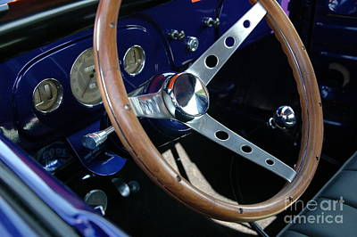 Purple V8 Photograph - Steering Wheel And Dashboard - '36 Ford Truck by Kathy Carlson