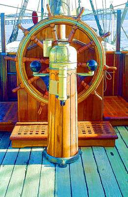 Steer Painting - Steering Wheel Of The Ship  by Lanjee Chee