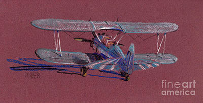 Drawing - Steerman Biplane by Donald Maier
