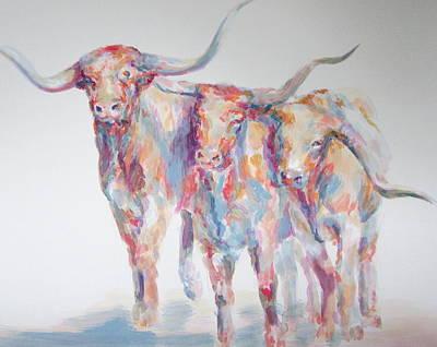 Steer Painting - Steers by Jennings Ingram