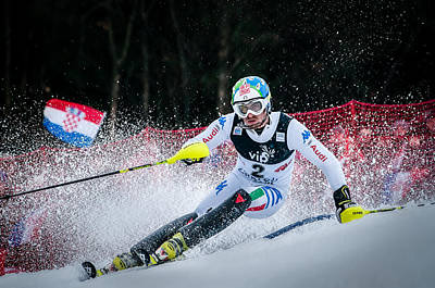 Skiing Photograph - Stefano Gross On Snow Queen Trophy-zagreb by Roman Martin