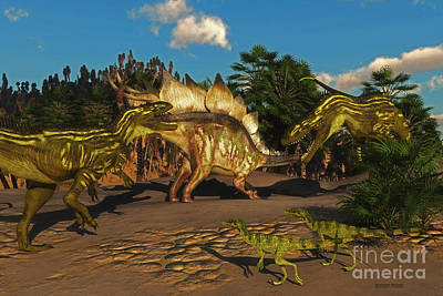 Stegosaurus Battle With Torvosaurus Art Print by Corey Ford