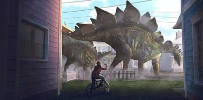 Scifi Painting - Stegosaurus by Guillem H Pongiluppi