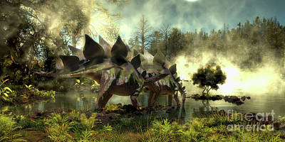Stegosaurus In Swamp Art Print by Corey Ford
