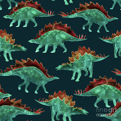 Dino Digital Art - Stegosaurus by Varpu Kronholm