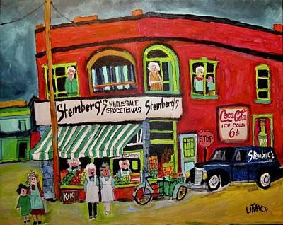 Steinbergs Groceteria Painting - Steinberg's First Store In Verdun by Michael Litvack